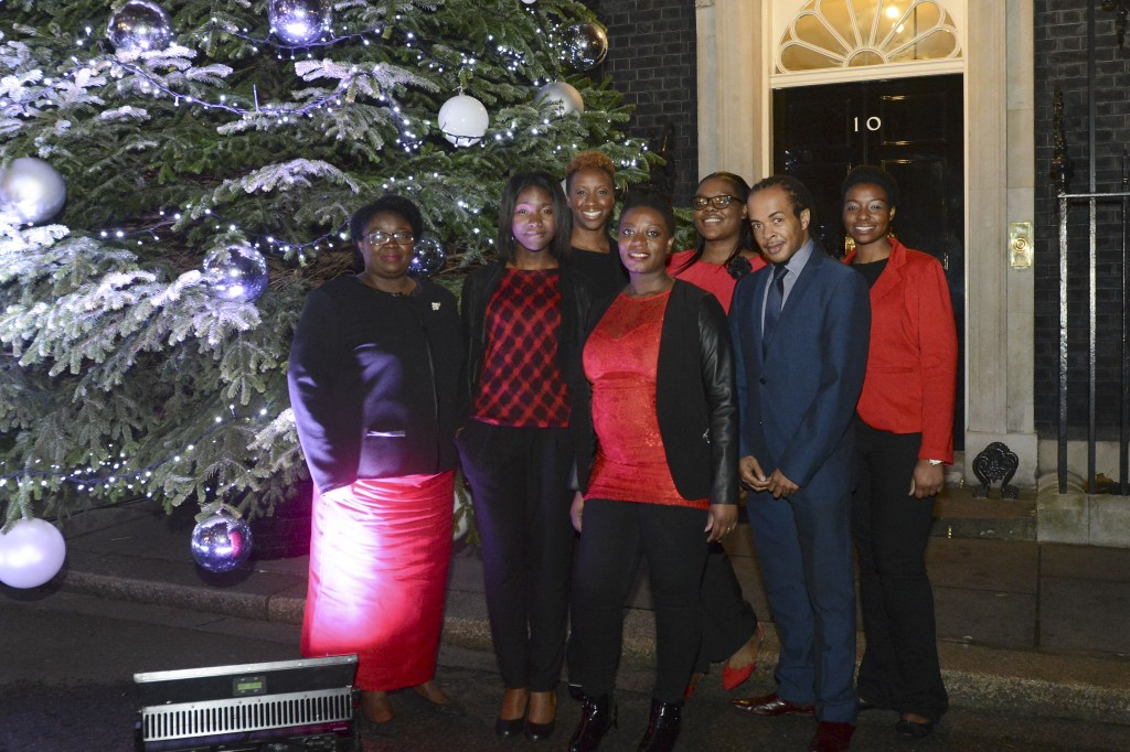 The Choir have a group photo, after the switching on of the Christmas lights of Downing Street